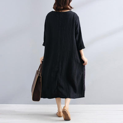 Women Cotton Linen Splicing Long Sleeves Loose Black Dress