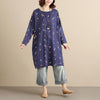 Cotton Floral Women Casual Loose  Round Collar Long Sleeves Blue Dress