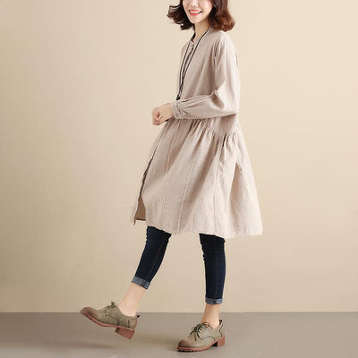 Splicing Pleated Literature Single Breasted Loose Beige Lattice Women Dress