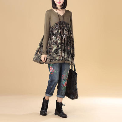 Women Autumn V Neck Long Sleeve Splicing Printing Coffee Sweater Dress