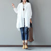 Spring Women Cotton Linen Loose White Shirt