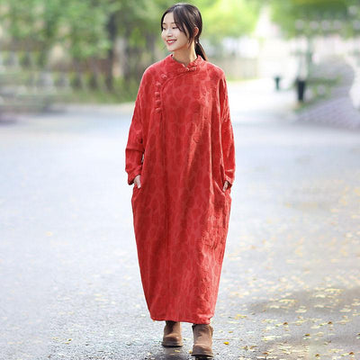 Retro Women Stand Collar Shoulder Sleeve Long Dress