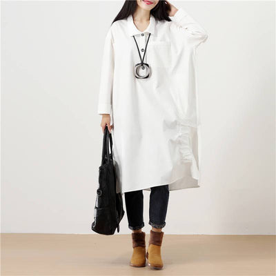 Polo Collar Solid White Long Sleeve Pockets Buttons Side Slit Dress