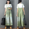 Printing Loose Pocket Casual Women Green Overalls