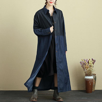 Splicing Lacing Loose Long Sleeve Autumn Coat For Women