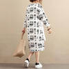 Stylish Exotic Printing Women Cotton Long Sleeves White Dress