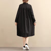Casual Loose Cotton Long Sleeve Pleated Black Dress