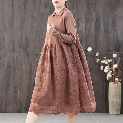 Buykud Stitching Embroidery Double Layer Hem Casual Dress