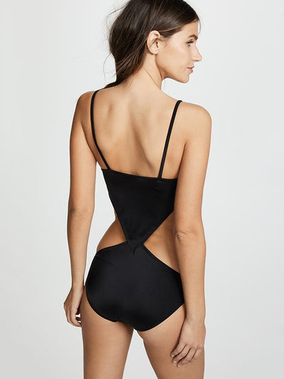 Black Hollow One-piece Swimwear