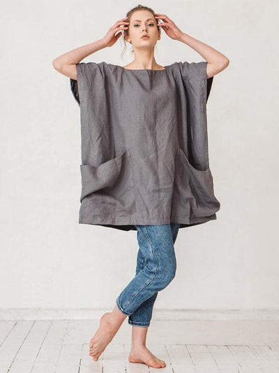 Large Pockets Batwing-sleeves T-shirt