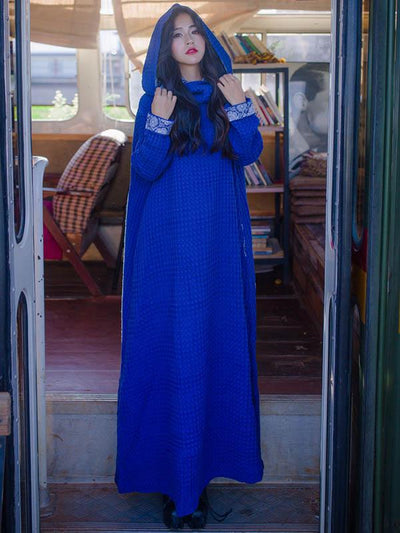 Retro Loose Hooded Solid Maxi Dress
