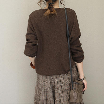 V-Neck Loose Curling Literary Casual Sweater