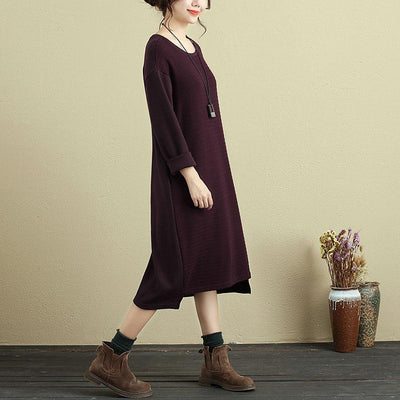 Women Casual Long Sleeve Pockets Stripe Wine Red Dress