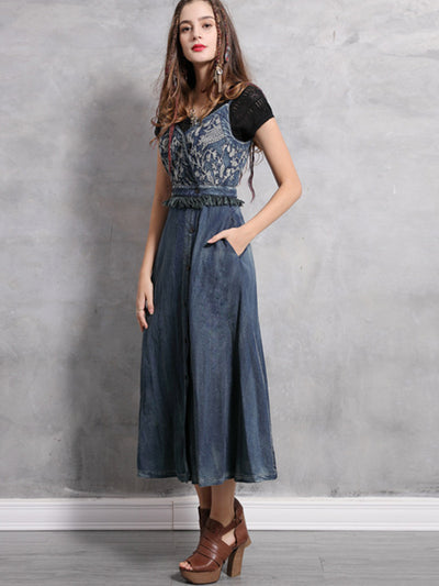 Women Dress Spring Boho Vintage Embroidery V-Neck Spaghetti Strap Tassel Denim Dresses