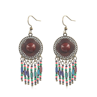 Hot fashion round openwork with turquoise stone crystal tassel Earrings Wholesale