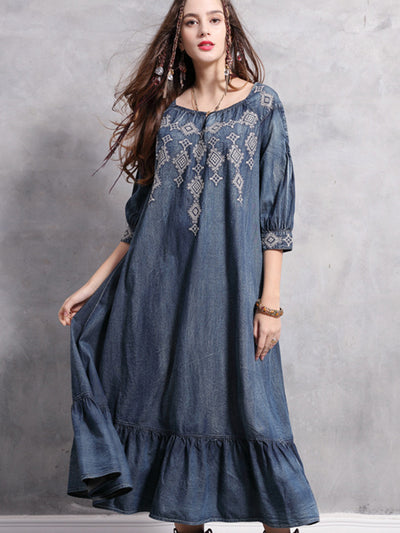 Spring Big size Casual Vintage Autumn Elegant embroidery Loose Female A-line Denim Long Dress