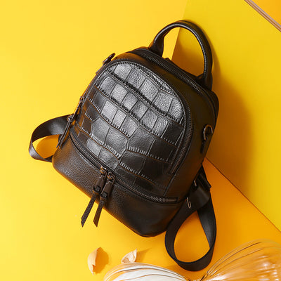 Simple Professional Crocodile Genuine Leather Backpacks
