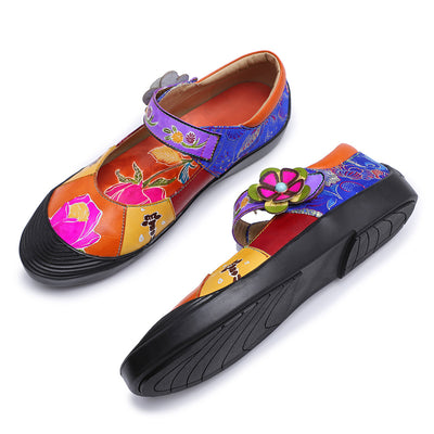 Pure handmade leather flat shoes