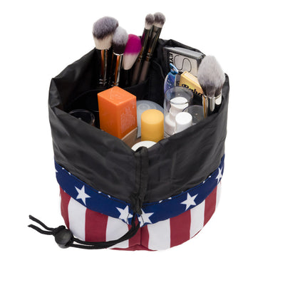 American flag bucket makeup bag