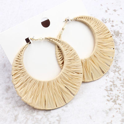 New Lafite Grass Bohemian Exaggerated Creative Woven Round Earrings Wholesale