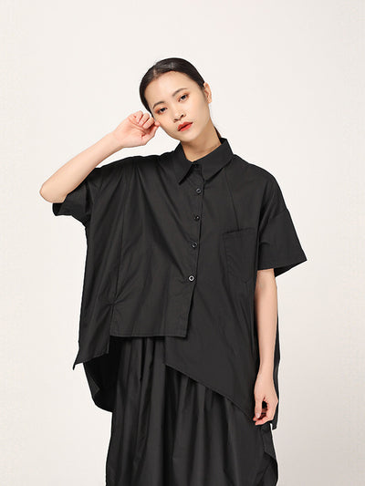 FASHION CASUAL CROPPED IRREGULAR SHIRT