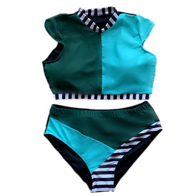 Women's large size swimsuit multi-color stitching high waist fattening BIKINI SWIMSUIT