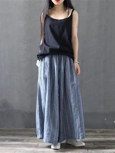 RETRO LINEN STRIPED WIDE LEG CULOTTES