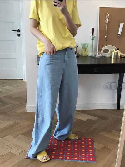 CASUAL EMPIRE WIDE LEG JEAN PANTS