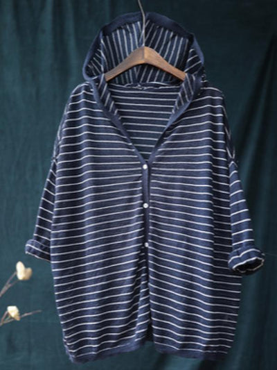 CASUAL STRIPED HOODED LIGHT OUTWEAR