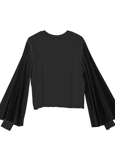 CASUAL PUFF SLEEVE SPLIT-JOINT TOPS