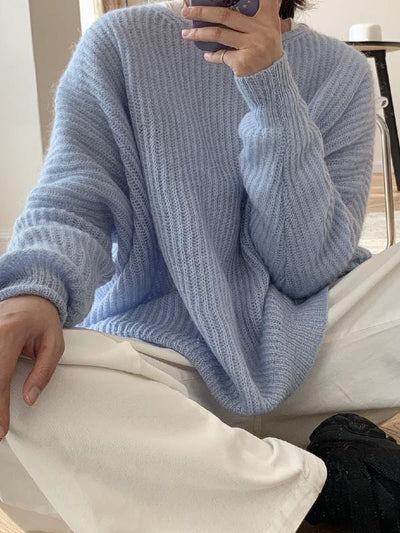 LOOSE SOLID MOHAIR SOFT-SKIN KNITTING SWEATER