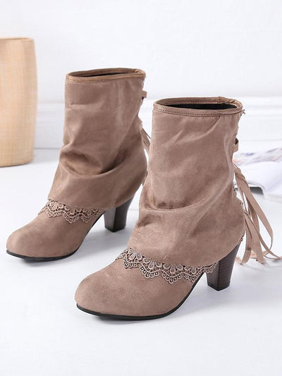 Solid Color Bandage Tasseled Purfle Lace Ankle Boots Shoes