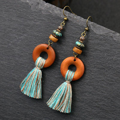 Fashion long flow ingest earrings creative wooden exaggerated earrings WHOLESALE