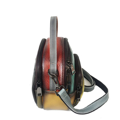 Leather women's handbag head layer leather hand-held messenger bag
