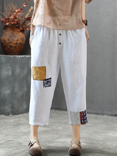 Vintage Loose Split-joint Elastic Waist Design Harem Pants