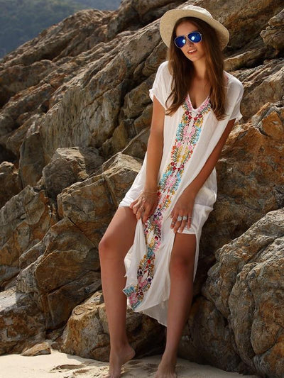Casual Beach Floral Ornament Long Dress in White Color