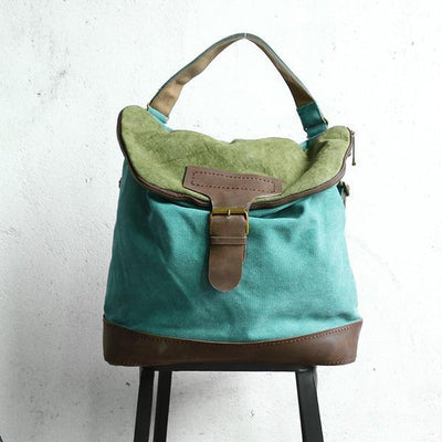 Women Canvas Casual Leather Green Backpack