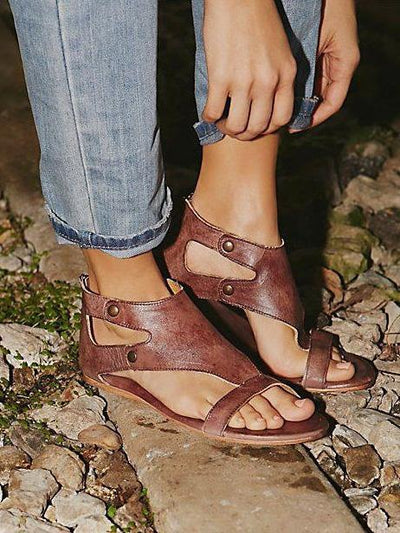 Casual Open Flat Leather Sandals, Four Colors