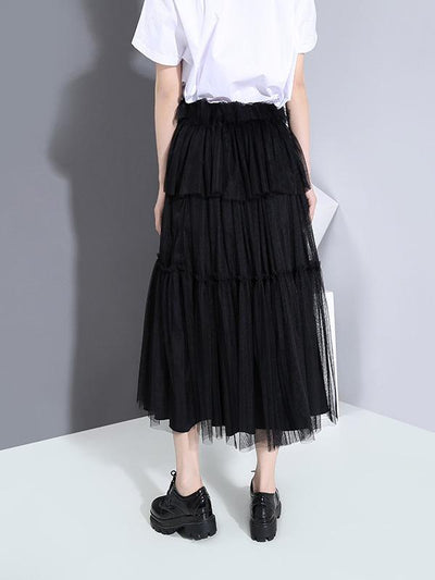 New Empire Solid Pleated Gauze Skirt
