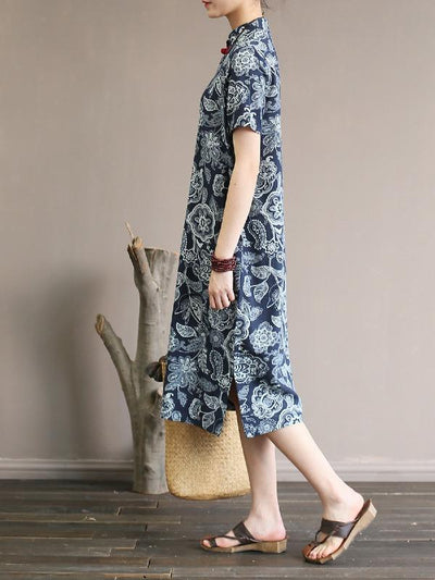 National Printed Cheongsam Midi Dress