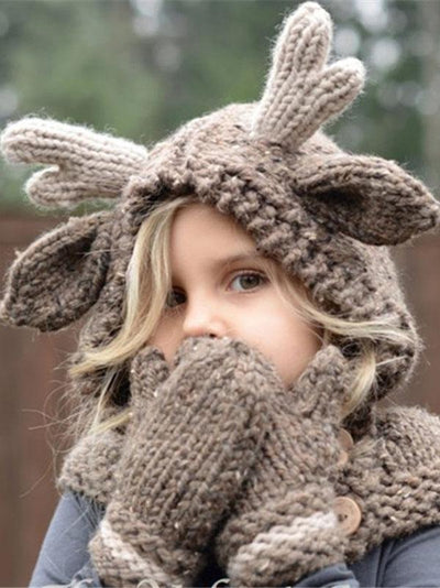 Knitted Elk Single Button Hat&Glove Accessories