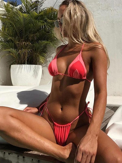 Thong Triangle Top With Panty Bikini Set