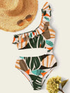 One-Shoulder Falbala Floral-Print One-Piece Swimwear