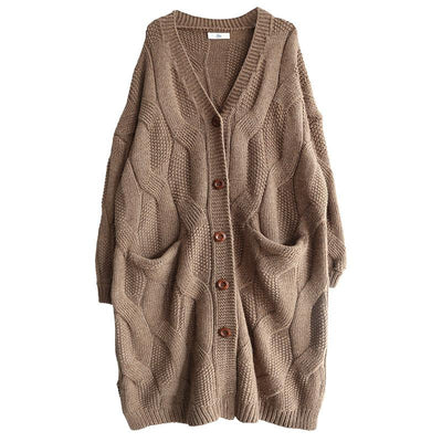 Buykud Casual Solid Color V-neck Thick Cardigan Sweater
