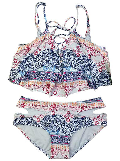 High Waisted Hollow Floral Bikinis Swimwear
