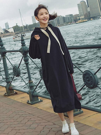 LOOSE SPLIT-SIDE HOODIE LONG DRESS