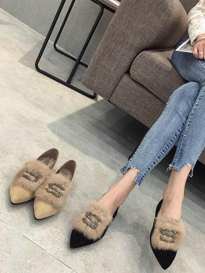 Rhinestone S Letter Artificial Fur Pointed Shoes