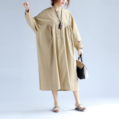 Cotton Women Long Sleeves Khaki Dress