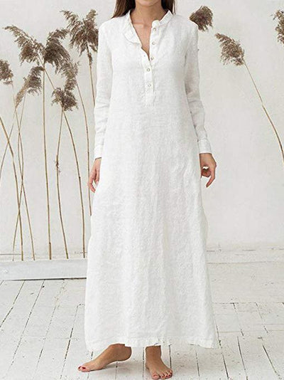 Classical Style Loosen Long Dress in White or Blue Color