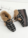 Plus Velvet Artificial Fur England Style Wedge Heel Boots Uggs